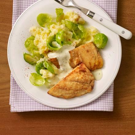Schlemmerfilet mit Kartoffel-Rosenkohlpüree Rezept