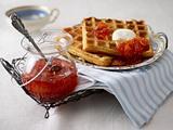 Schmandwaffeln mit Blutorangen-Rooibusch-Marmelade Rezept
