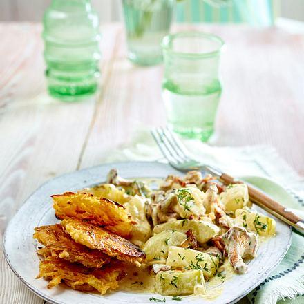 Schmorgurken-Pfifferlingsragout mit Röstitalern Rezept