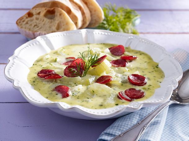 Schmorgurken-Suppe mit Cabanossi Rezept