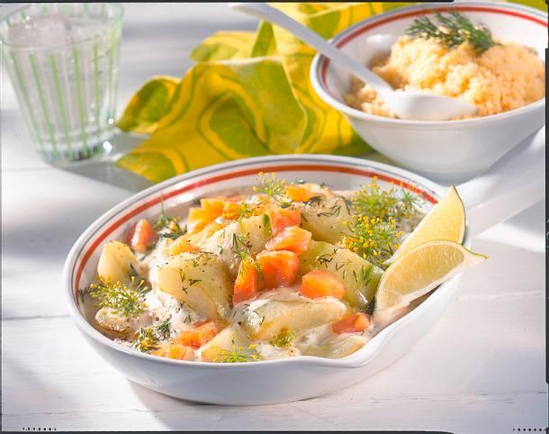 Schmorgurkenpfanne mit Lachs Rezept