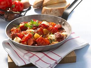 Schmortomaten mit Cabanossi & Mozzarella Rezept