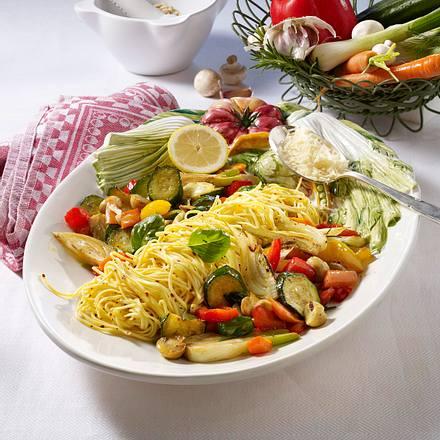 Schnelle Gemüsepfanne zu Nudeln Rezept