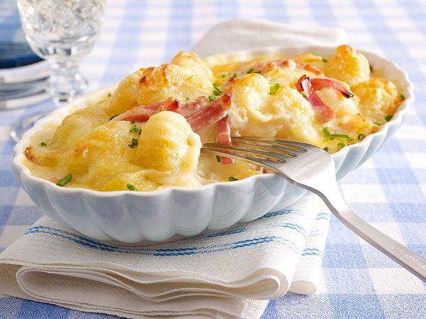Schnelle Gnocchi mit Käse und gekochtem Schinken Rezept