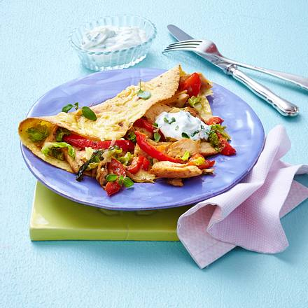 Schnelle Quesadillas mit Hähnchenfilet und Dip Rezept