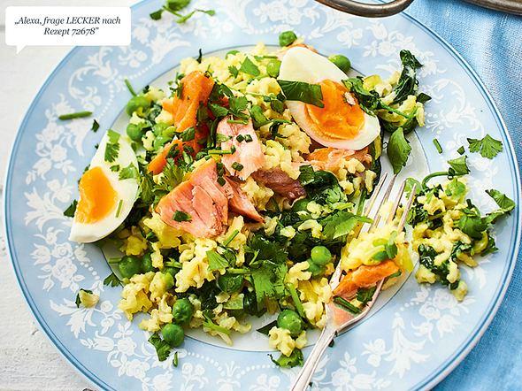 Schneller Curryreis mit Lachs und Ei Rezept