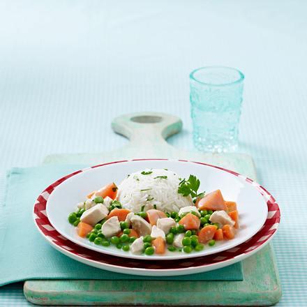 Schnelles Hühnerfrikassee mit Reis Rezept