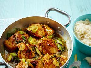 Schnelles Knoblauch-Hähnchen mit Reis Rezept