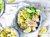 Schnelles Senf-Hähnchen mit Kartoffel-Mais-Smash Rezept