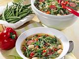 Schnippelbohnen-Suppe mit Kabanossi Rezept