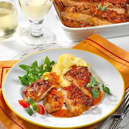 Schnitzel-Auflauf in Tomaten-Rahm Rezept