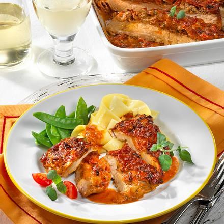 Schnitzel-Auflauf in Tomatenrahm Rezept