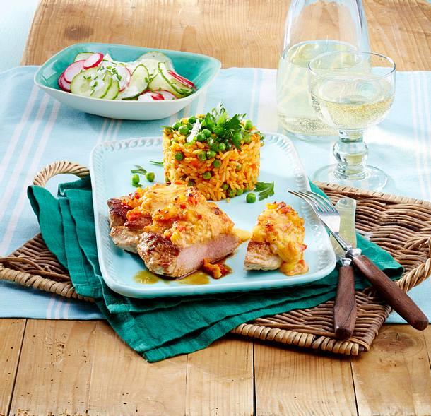 Schnitzel mit Balkanhaube Rezept