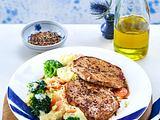 Schnitzel mit Brokkoli-Kartoffel-Möhren-Püree (Aus vier mach eins) Rezept