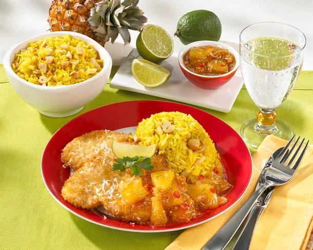 Schnitzel mit Kokospanade, Curry-Reis und Chutney Rezept