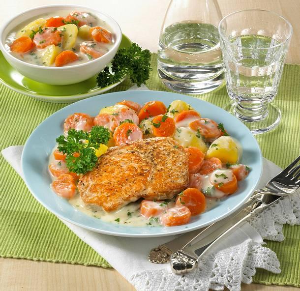 Schnitzel mit Möhrengemüse und Kartoffeln Rezept
