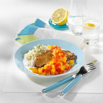 Schnitzel mit Paprika-Chutney Rezept