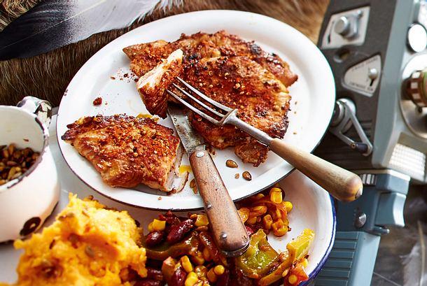 Schnitzel mit Paprika-Rub und Süßkartoffelpüree Rezept