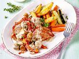 Schnitzel mit Pilzsoße und Röstgemüse-Pommes Rezept