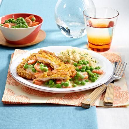 Schnitzel mit Rahmgemüse und Reis Rezept