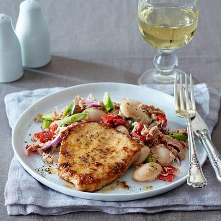 Schnitzel mit Thunfisch-Bohnen-Salat Rezept