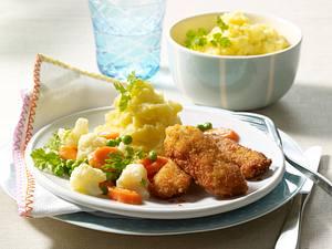 Schnitzel-Nuggets mit Buttergemüse Rezept