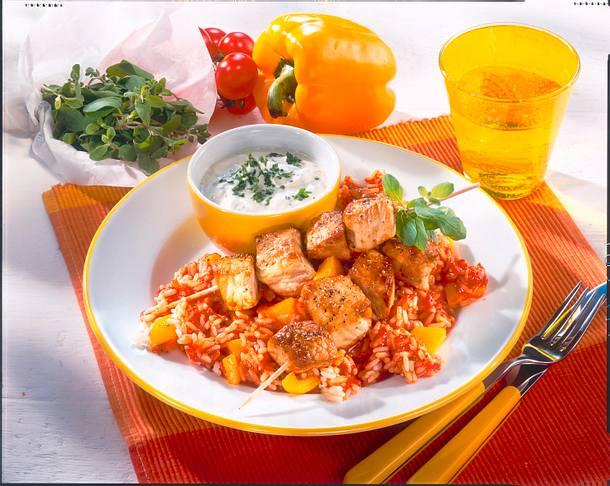 Schnitzel-Spieße auf Tomaten-Paprika-Reis Rezept