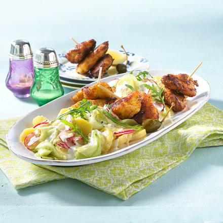 Schnitzel vom Blech mit Kartoffel-Gurken-Salat Rezept