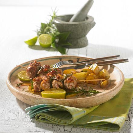 Schnitzelröllchen mit Rosmarinkartoffeln Rezept