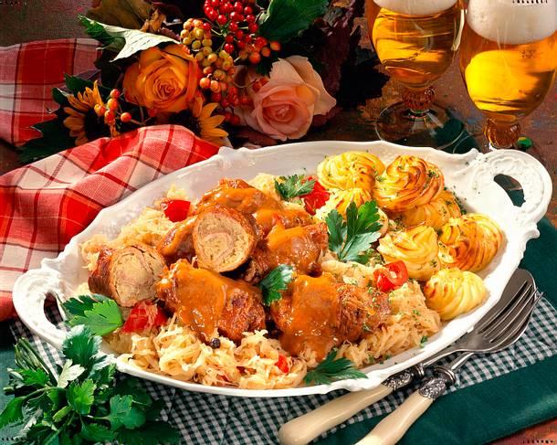 Schnitzelröllchen mit Sauerkaut Rezept