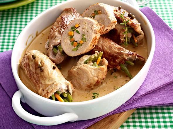 Schnitzelröllchen zu Kartoffelgratin Rezept