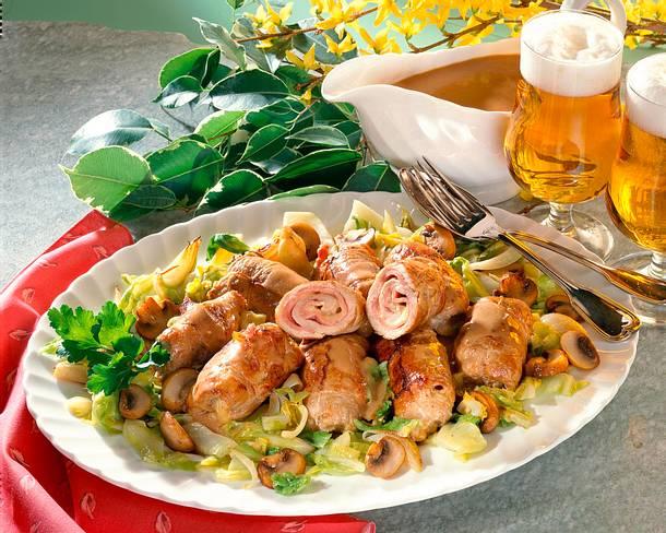 Schnitzelrouladen à la Cordon bleu Rezept