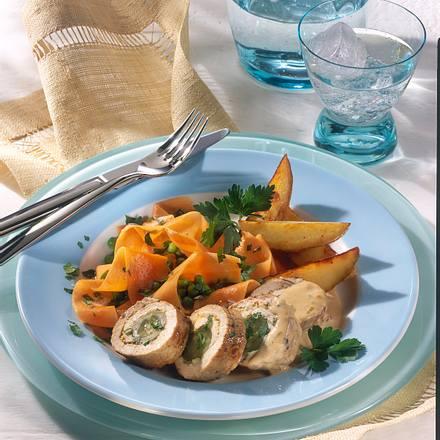 Schnitzelrouladen und Erbsen-Möhren-Gemüse (Diabetiker) Rezept