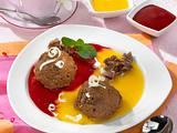 Schoko-Knusper-Pralinen-Mousse mit Himbeer-Aprikosensoße Rezept