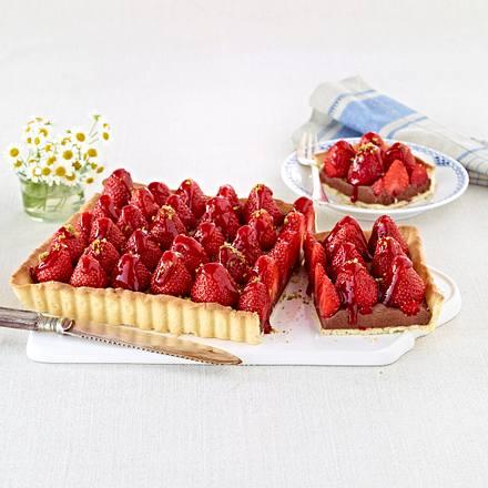 Schoko-Tarte mit Erdbeeren Rezept