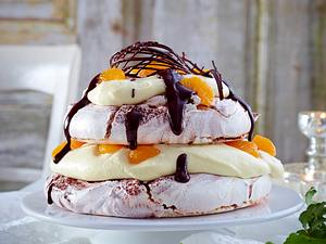 Schokolade-Orangen-Baiser-Kuchen Rezept