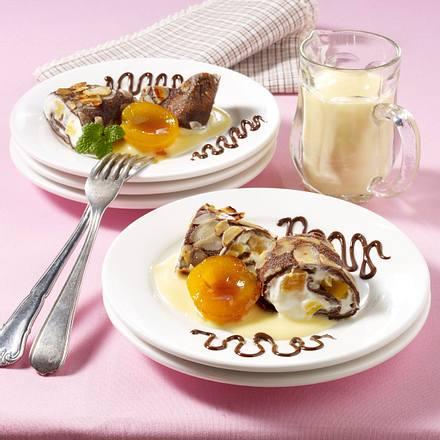 Schokoladen-Crêpes mit Aprikosen-Quark Rezept