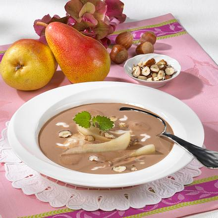 schokoladensuppe mit pochierten birnen rezept chefkoch rezepte auf kochen backen. Black Bedroom Furniture Sets. Home Design Ideas