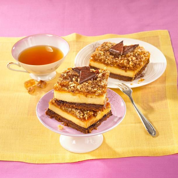 Schokominze-Käsekuchen mit Krokantstreuseln Rezept