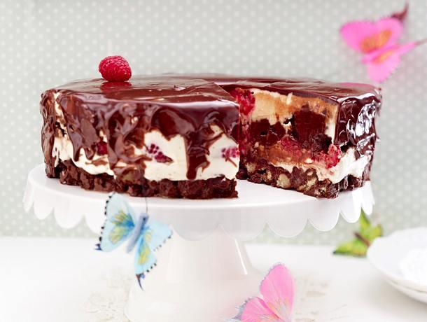 Schokomousse-Torte mit Himbeeren Rezept