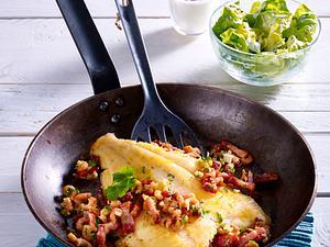 Scholle mit Krabben-Speck-Stippe und Kopfsalat mit Zitronen-Joghurt-Dressing Rezept