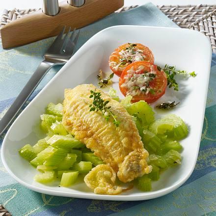 Schollenfilet auf Selleriegemüse mit geschmorten Tomaten Rezept