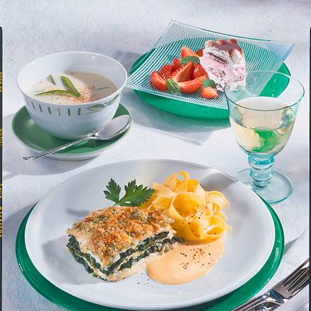Schollenfilet-Lasagne mit Spinat Rezept
