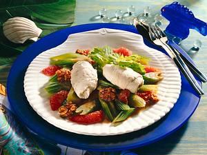 Schollenfilet-Röllchen auf Sellerie-Gemüse Rezept