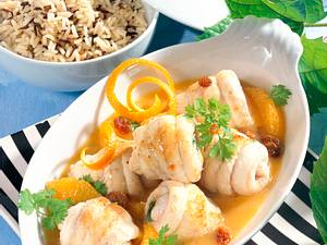 Schollenröllchen in Orangensoße Rezept