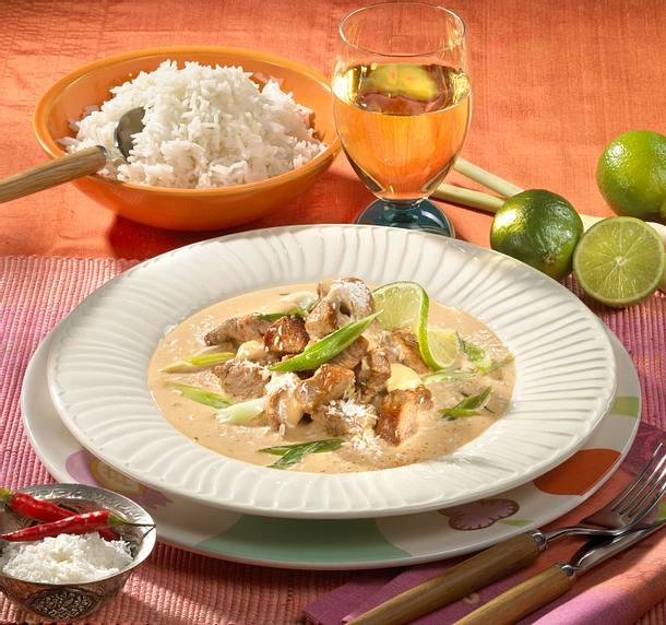 Schweine-Kokos-Geschnetzeltes mit Basmati-Reis Rezept