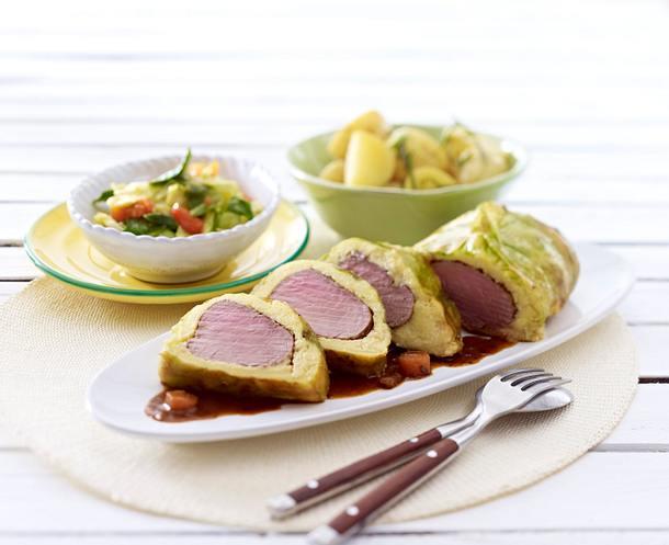 Schweinefilet im Polenta-Gemüse-Mantel zu Kartoffeln Rezept