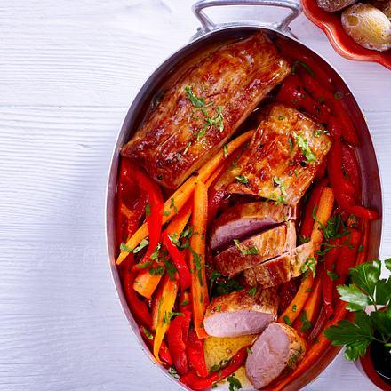 Schweinefilet mit roter Mojo und Runzelkartoffeln Rezept