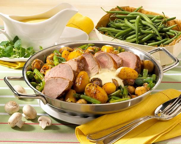 Schweinefilet-Pfanne mit Bohnen Rezept