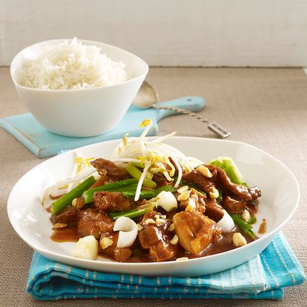 Schweinefleisch mit Soja, Lauchzwiebeln, Knoblauch und Reis Rezept